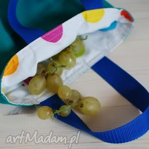 do ręki lunchbag by wkml turkusowy w kolorowe grochy, turkusowy, niebieski, śniadanie
