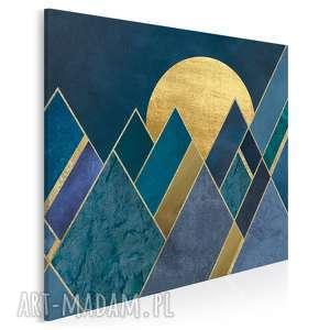 obraz na płótnie - trójkąty noc granat złoto w kwadracie 80x80 cm 65102