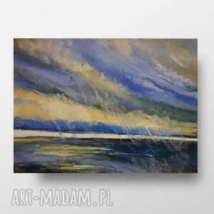 morze w deszczu-pastele suche,format pracy a4, pastele, papier, marynistyka