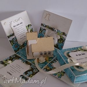 kartka - pudełko na ślub niebieskie - kartka, pudełko, ślub, wesele