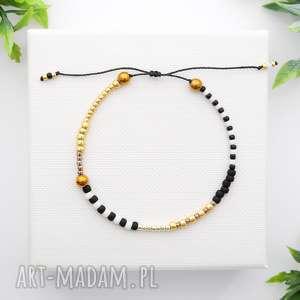 bransoletka koralikowa minimal hematite - black and gold, bransoletki, modna