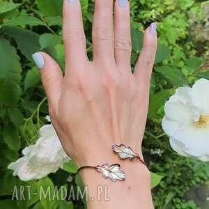 bębowe listki małe brązowe - bransoeltka srebrna, bransoletka, srebro, biżuteria