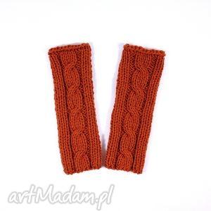 ręcznie wykonane rękawiczki mitenki rude z warkoczem