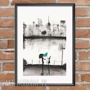 obraz ręcznie malowany 30 x 40 cm, nowoczesna abstrakcja, deszczowa ulica