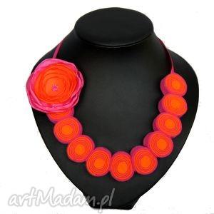 korale z filcu - filc, korale, regulowane, kwiat, modne, biżuteria
