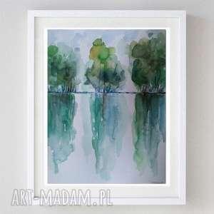 drzewa-akwarela formatu 18/24 cm, drzewa, akwarela, pejzaż, papier