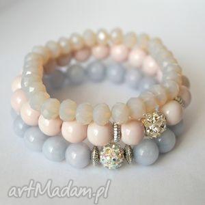 Set pink&grey fog - ,koraliki,jadeity,cyrkonie,shamballa,