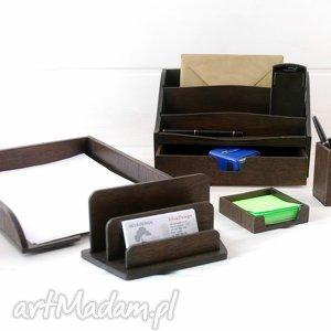 Drewniany komplet na biurko, 5 części , biuro, przybornik, homeoffice, biurko