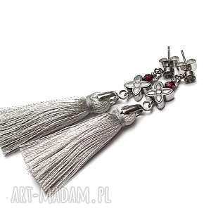 alloys collection /boho/ l grey/ - kolczyki, stal, szlachetna, chwosty, granaty