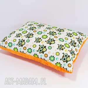 urocza podusia minky 30x40cm sówki orange - sówki, orange, poduszka, bawełna