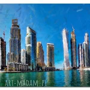obraz miasto 16 - 120x70cm na płótnie wieżowce panorama, obraz, miasto