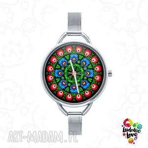 zegarek z grafiką wycinanka, folk, etnicze, ludowe, modny, prezent, czas