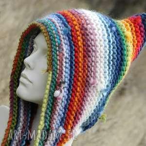 CZAPA ETNO ELF 100% WEŁNA, kolorowa, multicolor, etniczna, ciepła, wełniana
