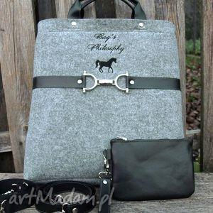 Tote bag gallop black torebki bags philosophy wyjątkowa, konie,
