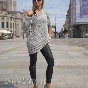 sweter z wydłużonymi oczkami - bawełna, szary, top