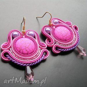 amarant z fioletem - kolczyki sutasz, sutasz