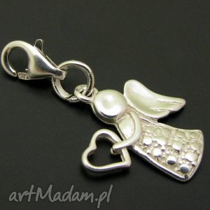 hand made wisiorki zawieszka charms aniołek anioł srebro bransoletka