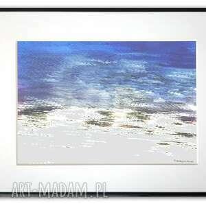 grafika w ramie z passe-partout kolor morza 40x30, morze, minimalistyczne