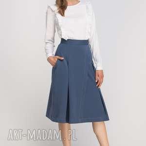 Spódnica z zakładką, SP116 niebieski, casual, elegancka, rozkloszowana, kieszenie