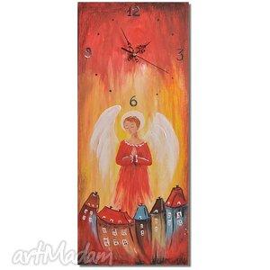 aleksandrab zegar - obraz anioł stróż, zegar, obraz, dekoracja, anioł, anioły
