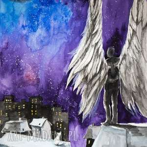 OPIEKUN NOCY akwarela artystki plastyka Adriany Laube, akwarela, obrazek, anioł
