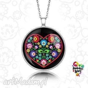 medalion okrągły serce ludowe - folk, folklor, polskie, wzory, tradycje