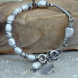 perły w szarości - bransoletka, srebro oksydowane, perły, bransoletka