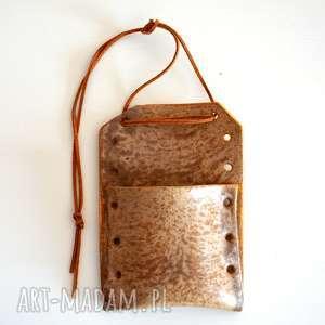 Ceramiczna zawieszka, saszetka, torebka, wazon, ceramiczny, torba