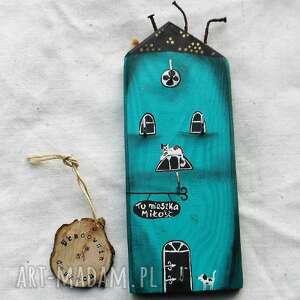domek - wieszak na klucze no 2, muminków, wieszak, malowany z drewna
