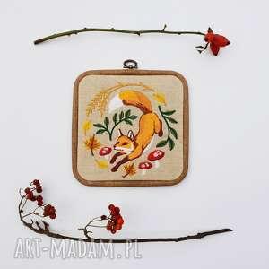 obrazek haftowany las jesienią - ,obrazek,haft,lis,las,len,lisek,