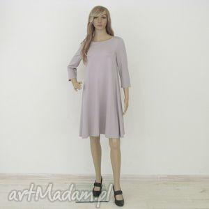 7 - sukienka jasno szara, sukienka, rozkloszowana, trapez, mini, elegancka, sukienki