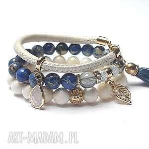 handmade bransoletki ivory and dark blue vol. 5 /023.11.16/ set