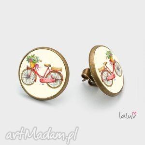 wyjątkowy prezent, kolczyki sztyfty love bike, rower, jazda, hobby, sport, koła
