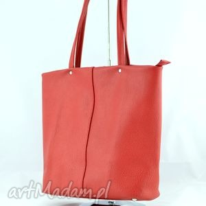 ręcznie robione na ramię duża skórzana torba - czerwony kuferek