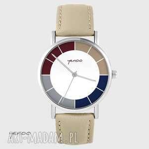 hand made zegarki zegarek yenoo - classic, tricolor beżowy, skórzany