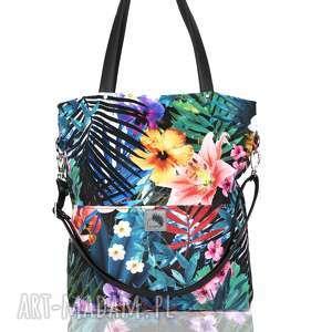fantastyczna torebka w egzotyczny wzór, palmy, kwiaty, letnia, kolorowa, duża