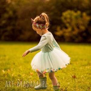 Sukienka z tiulem i pomponikami Fluffy Baby Blue, pompony, pomponiki, tiul, tiulowa