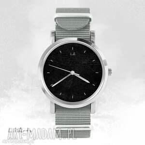 zegarek, bransoletka - czarny szary, nato, unisex, bransoletka, nato
