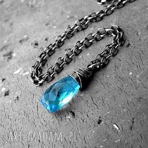 KROPLA- NASZYJNIK SREBRO I KWARC SWISS BLUE., delikatny, z-kamieniem, turkusowy