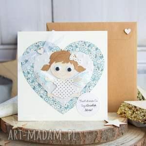 scrapbooking kartki kartka z uroczym aniołkiem stróżem personalizacja treści