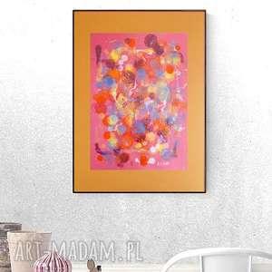 Grafika w ciepłych kolorach, abstrakcyjna grafika, malowana