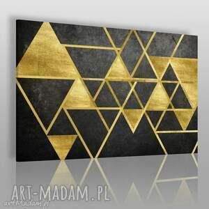 ręcznie robione obrazy obraz na płótnie - trójkąty geometryczny złoto - 120x80 cm (64101)