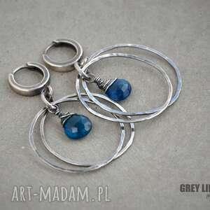 Koła z apatytem kolczyki srebrne grey line project srebro, 925