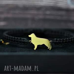 border collie - bransoletka / srebro pozłacane, pies, piesek