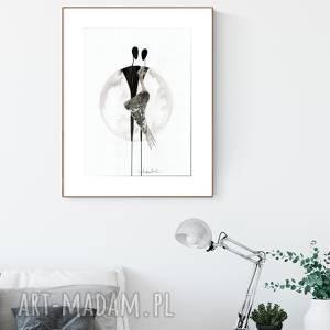 Grafika 30x40 cm wykonana ręcznie, pabstrakcja, elegancki