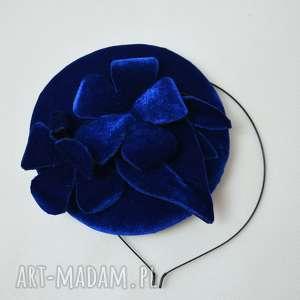 unikalne, ozdoby do włosów chabrowa dama, fascynator, niebieski, toczek, welur