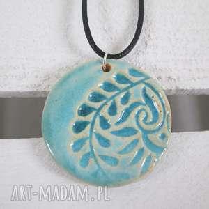 turkusowy etno naszyjnik ceramiczny - ,etniczny,turkusowy,na-prezent,błękitny,