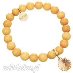 ręcznie wykonane bransoletki żółta bransoletka nefryt bursztynowy kryształ rivoli swarovski® elements