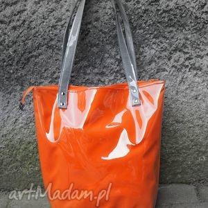 na ramię mana neon mandarynka, torba, torebka, pomarańczowa, duża, oryginalny