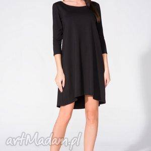 Sukienka T162 lekko rozkloszowana, czarna, sukienka, lekko, kobieca